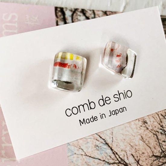 伊勢志摩シリーズ・1点ものガラスピアス「桜/Cherry Blossom」|箱付