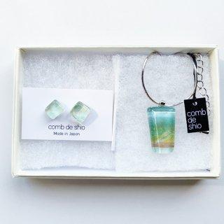 1点ものガラス「伊勢志摩シリーズ森/Forest」ピアス&ペンダントセット|箱付