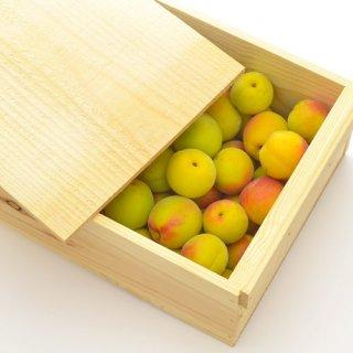 (冷蔵)フタ付き粗仕上げ訳あり木箱入り完熟梅(豊後梅の黄熟梅)約3kgサイズ中玉以上混合