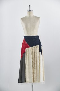 Patchworked flare skirt