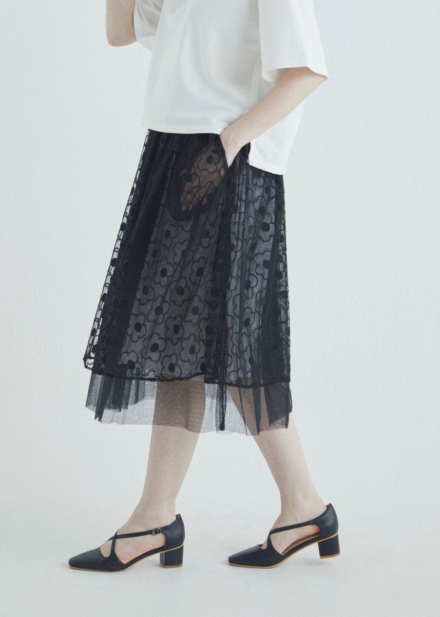 Glitter embroidery tulle skirt