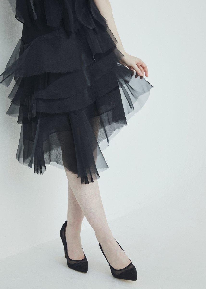 Slant line layer frilled skirt