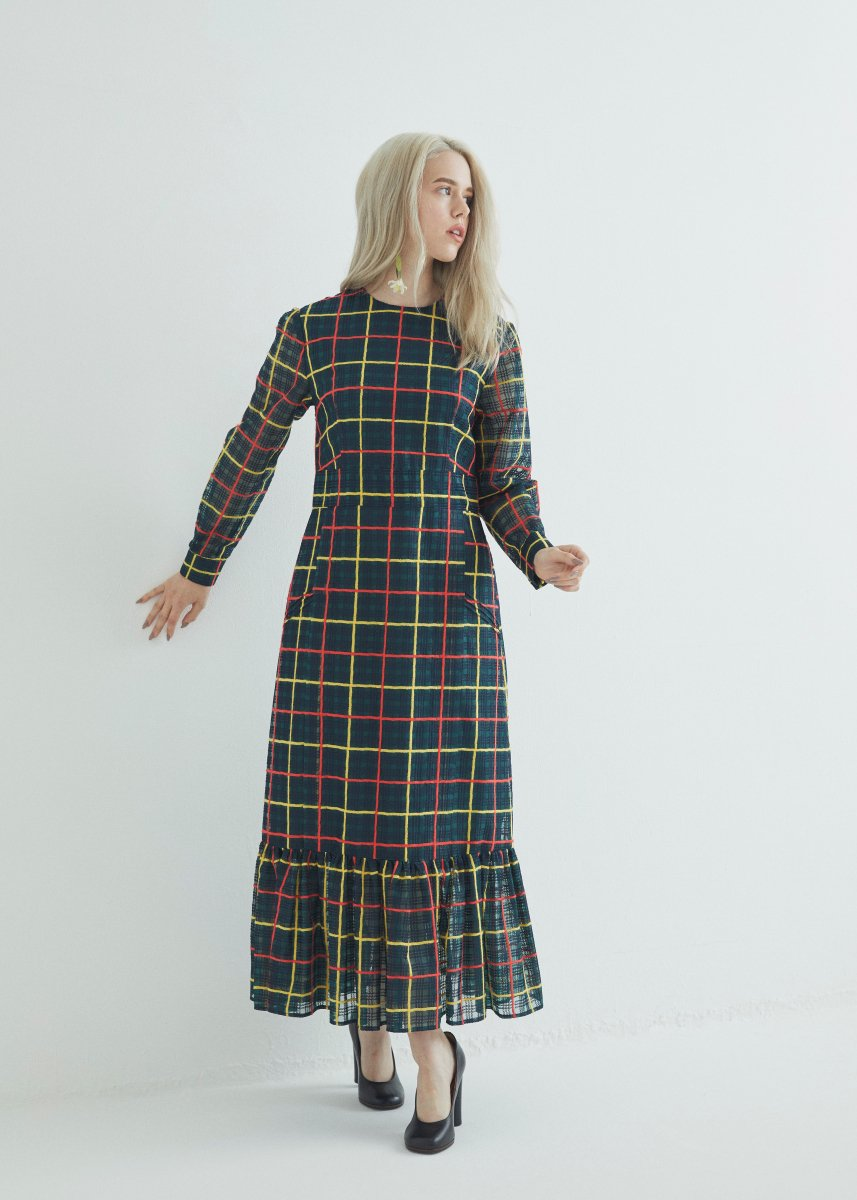 Organdie plaid pin-tucks dress