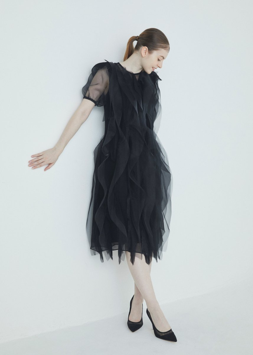 Lengthwise line layer frilled short sleeve dress
