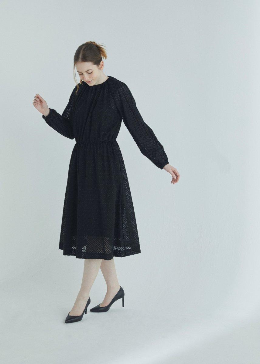 Geometric lace embroidery gathered collar dress