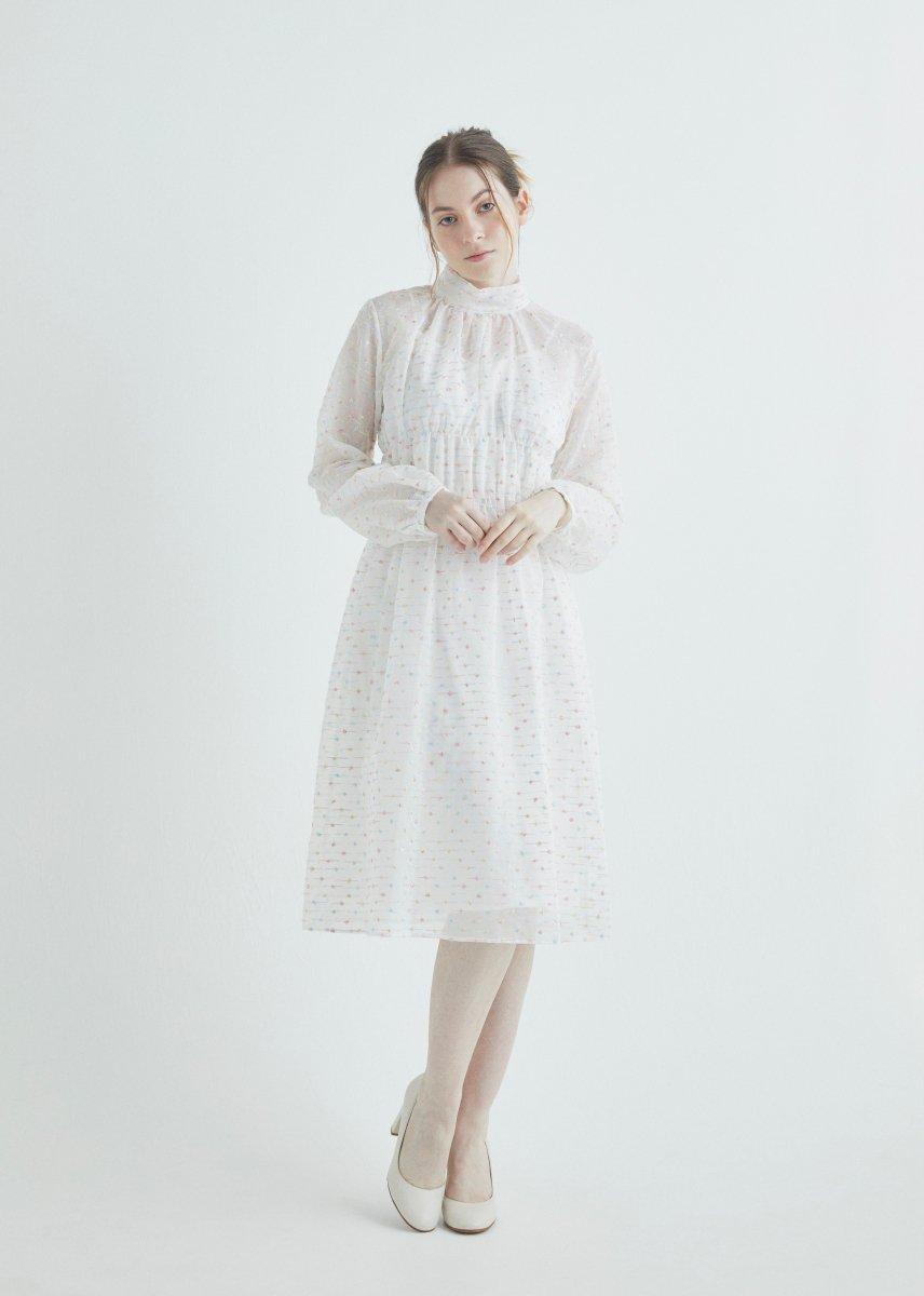 Mix dot embroidery high neck shirring dress