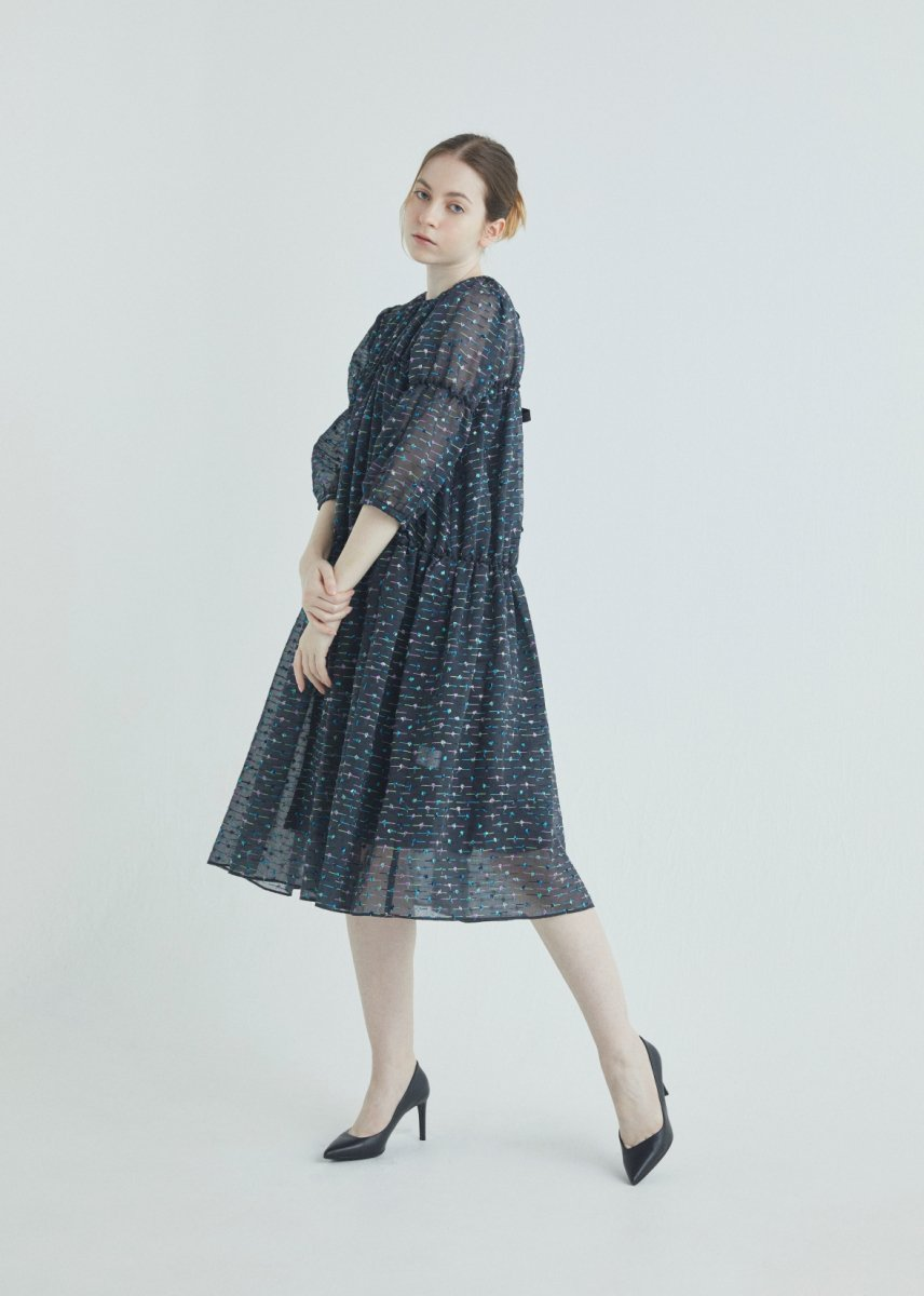 Mix dot embroidery gathered collar switched dress
