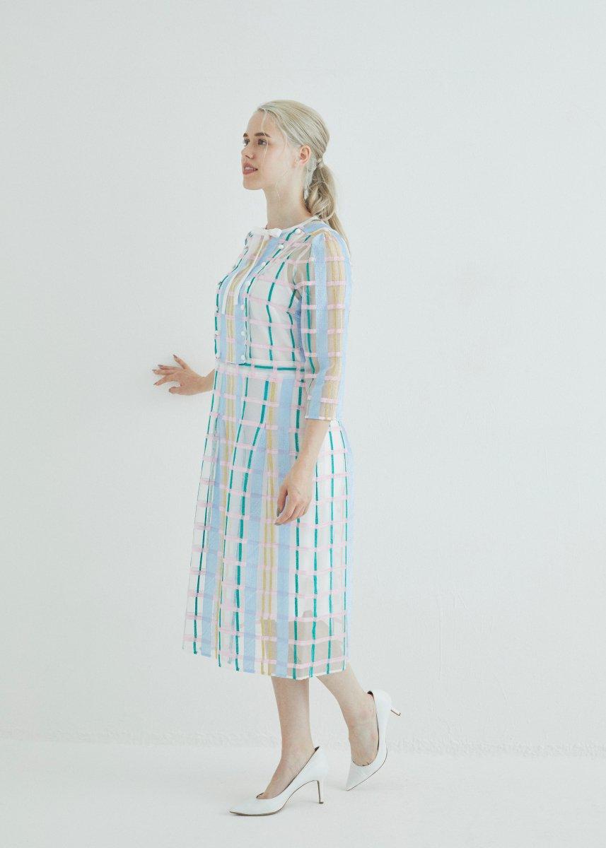 Color plaid front ribbon dress