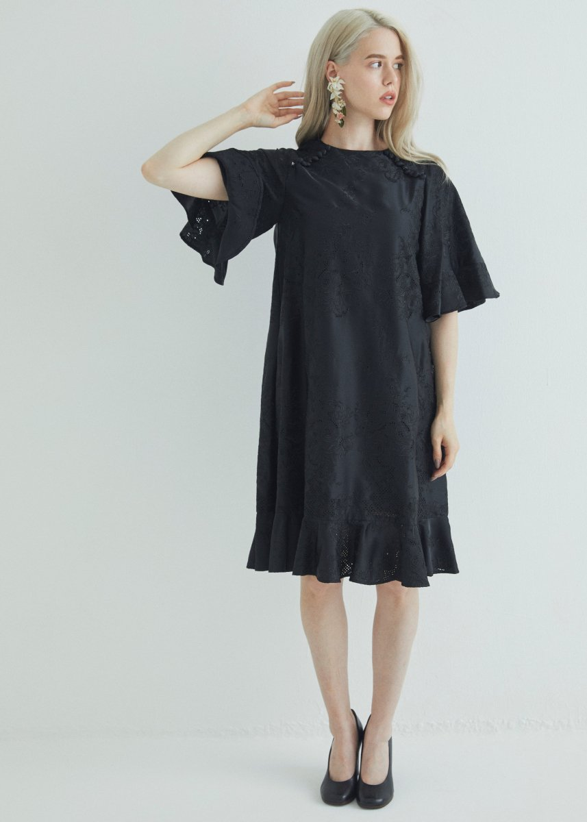 Flower embroidery shoulder button A line dress