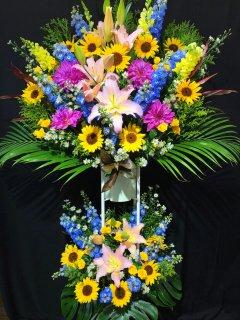 商品ID 3732 スタンド花 青・黄色系 2段