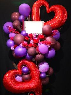 商品ID 7656 バルーンスタンド 赤・紫系 2段
