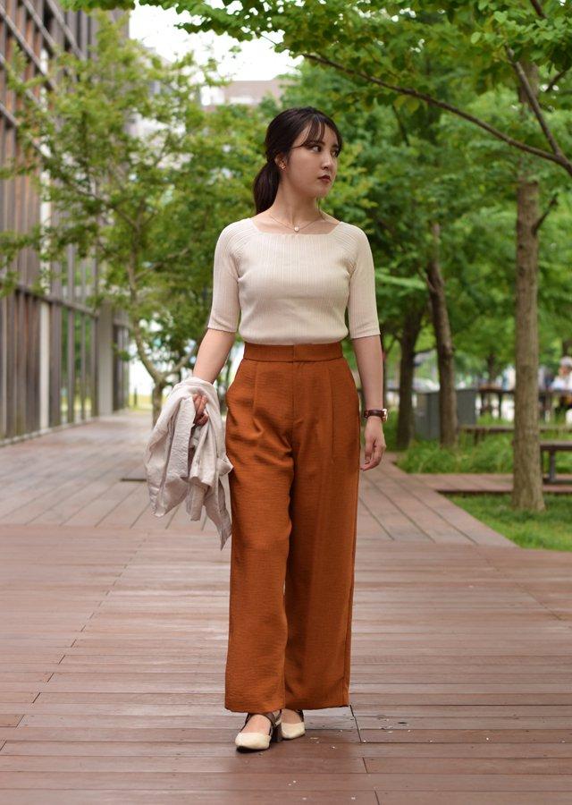 【SALE】リネン風ワイドパンツ