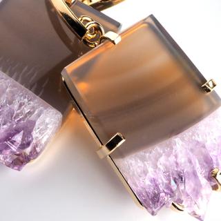 アメジスト(紫水晶・パープルA) 天然石 ドロップピアス/イヤリング-ゴールドカラー