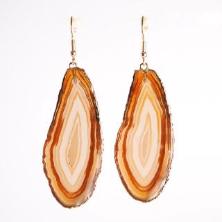 メノウ(瑪瑙・ブラウンA) 天然石 ドロップピアス/イヤリング-ゴールドカラー