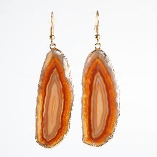 メノウ(瑪瑙・ブラウンB) 天然石 ドロップピアス/イヤリング-ゴールドカラー