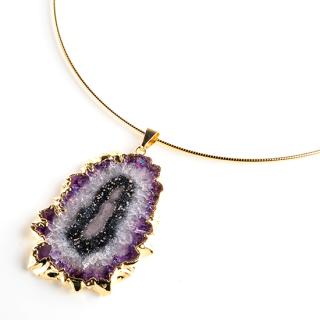 フラワーアメジスト(紫水晶・パープルA) 天然石 チョーカーネックレス-ゴールドカラー