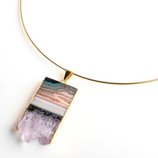 アメジスト(紫水晶・パープルA) 天然石 チョーカーネックレス-GP ゴールド