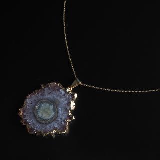 フラワーアメジスト (紫水晶・パープルB) 天然石 ショートネックレス-ゴールドカラー