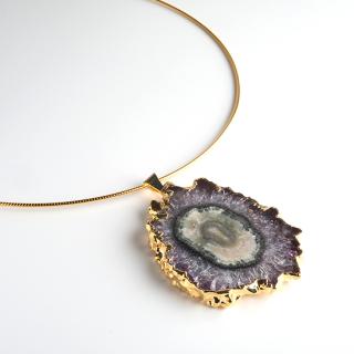 フラワーアメジスト (紫水晶・パープルB) 天然石 チョーカーネックレス-GP ゴールド