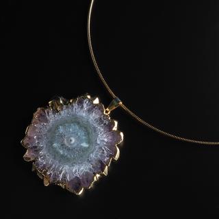 フラワーアメジスト (紫水晶・パープルC) 天然石 チョーカーネックレス-GP ゴールド