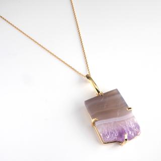 アメジスト(紫水晶・パープルA) 天然石 ショートネックレス-ゴールドカラー
