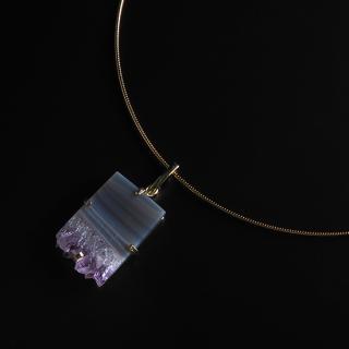 アメジスト(紫水晶・パープルB) 天然石 チョーカーネックレス-ゴールドカラー