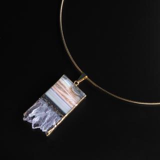 アメジスト(紫水晶・パープルD) 天然石 チョーカーネックレス-ゴールドカラー