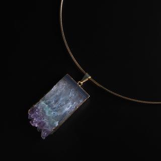 アメジスト(紫水晶・パープルE) 天然石 チョーカーネックレス-ゴールドカラー