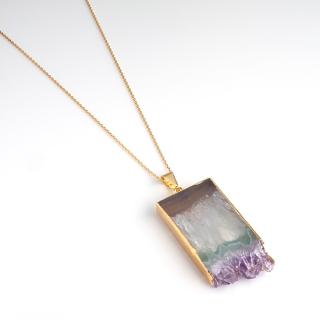 アメジスト(紫水晶・パープルB) 天然石 ショートネックレス-ゴールドカラー