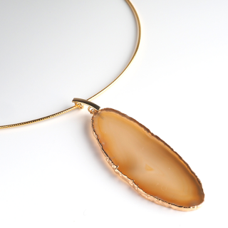 メノウ (瑪瑙・ブラウンA) 天然石 チョーカーネックレス-ゴールドカラー