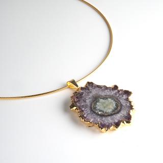 フラワーアメジスト (紫水晶・パープルE) 天然石 チョーカーネックレス-ゴールドカラー