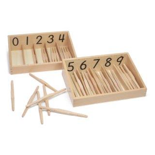45本の錘形棒と箱
