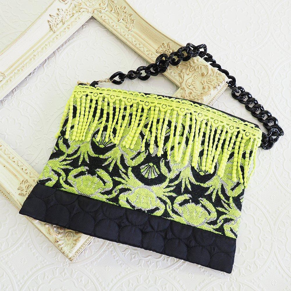 フランスジャガード使用☆幾何学模様なカニ柄 チェーンバッグ【カニの板挟み】