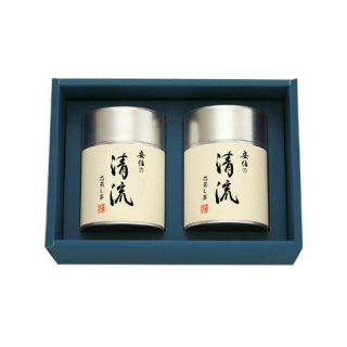 【贈答用】安倍の清流100g帯缶(化粧箱入2本)
