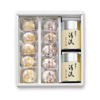 【贈答用】【清流】100g帯缶2本と刻み栗入り麦こがしのセット