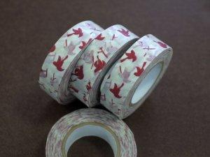 倉敷意匠 マスキングテープ15mm メッセージバード レッド 1巻パッケージ無