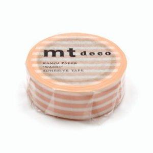 mtマスキングテープ1P   ボーダー・ピーチクリーム