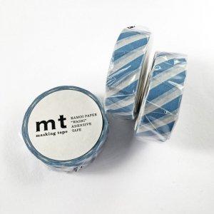 mtマスキングテープ1P   斜めストライプ・グレイッシュスカイ
