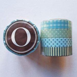倉敷意匠 マスキングテープ13mm×4柄セット (ブルー系) O