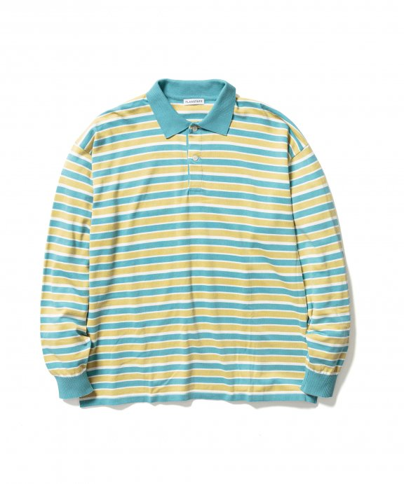 BORDER KNIT L/S POLO SHIRTS (GREEN)