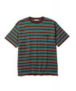 BORDER KNIT POCKET TEE (BROWN)
