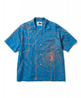 SPIDER S/S SHIRTS (BLUE × ORANGE)