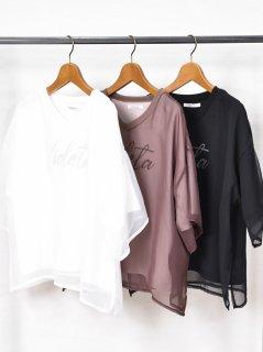 ROSIEE (ロージー) シフォン レイヤード ロゴプリント Tシャツ