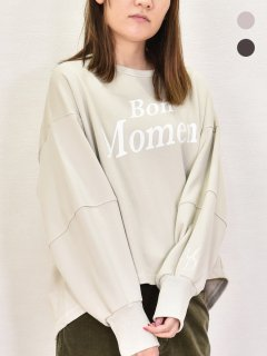 MARIED'OR (マリードール) ロゴプリント 袖刺繍 ボリュームスリーブ プルオーバー