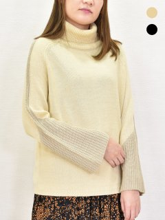 MICALLE MICALLE (ミカーレミカーレ) タートルネック 袖配色 切替プルオーバー