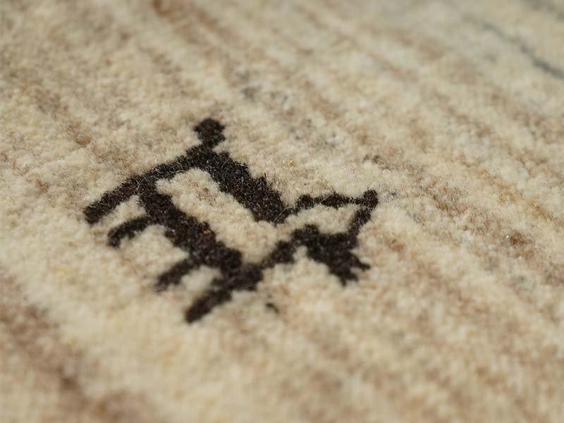 上質な無染色ウールのセミハンドメイド!インドギャッベのマット『ペコラ 約70x120cm』