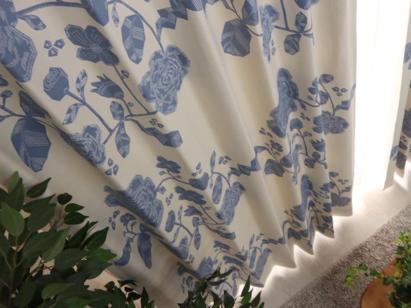 100サイズから選べる!お洒落な北欧デザインの花柄カーテン 『アルベルト ブルー』
