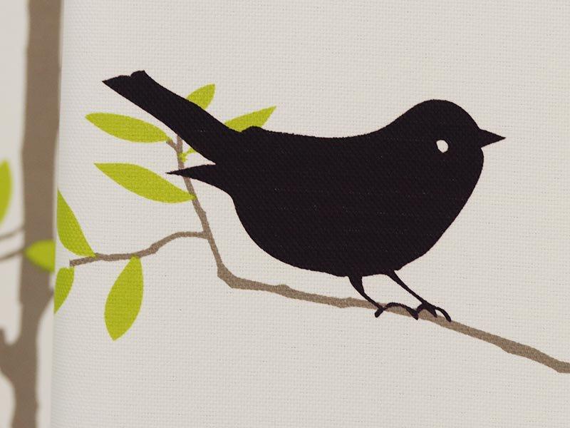 100サイズから選べる!お洒落な北欧デザインの小鳥&枝葉柄カーテン 『ガルシア イエロー』