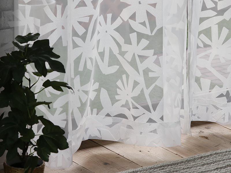 ナチュラルな花柄が可愛らしい!洗える日本製レースカーテン 『ラナイ』