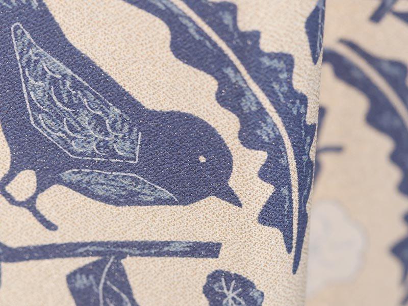 100サイズから選べる!お花と小鳥柄がかわいい北欧デザインカーテン 『ピチエ ブルー』